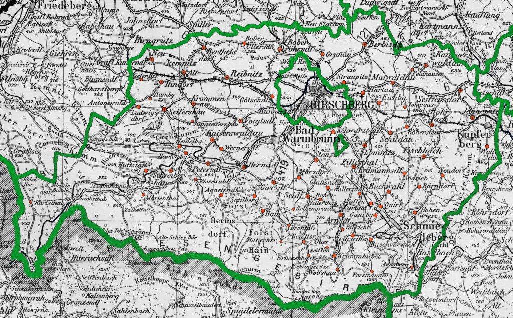 Schlesien Karte Deutsche Ortsnamen.Heimatforschung Hirschberg Niederschlesi
